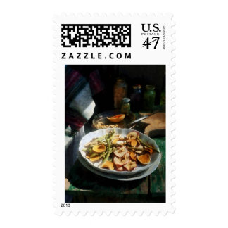 Plate of Dried Fruits and Vegetables Stamp