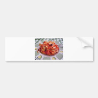 Plate of home made baked pasta on white background bumper sticker
