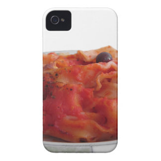 Plate of home made baked pasta on white background iPhone 4 cover