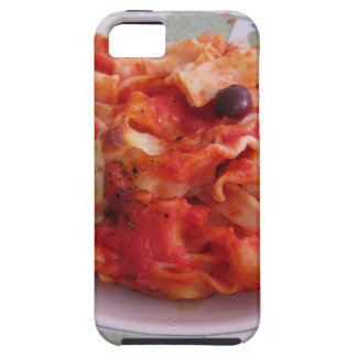 Plate of home made baked pasta on white background iPhone 5 case