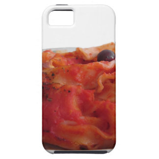 Plate of home made baked pasta on white background iPhone 5 cover
