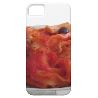Plate of home made baked pasta on white background iPhone 5 covers