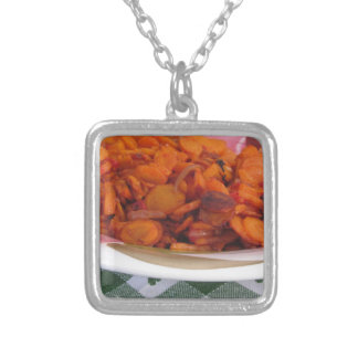 Plate of stir-fried carrots square pendant necklace