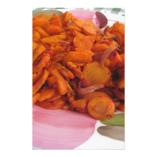 Plate of stir-fried carrots stationery