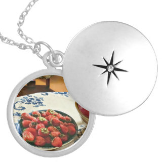Plate Of Strawberries Locket Necklace