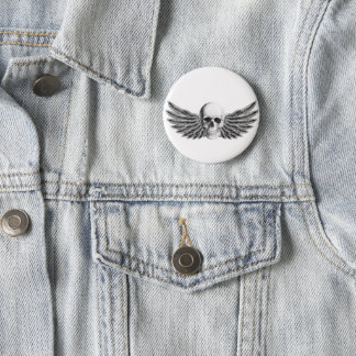 Plate of winged skull pinback button
