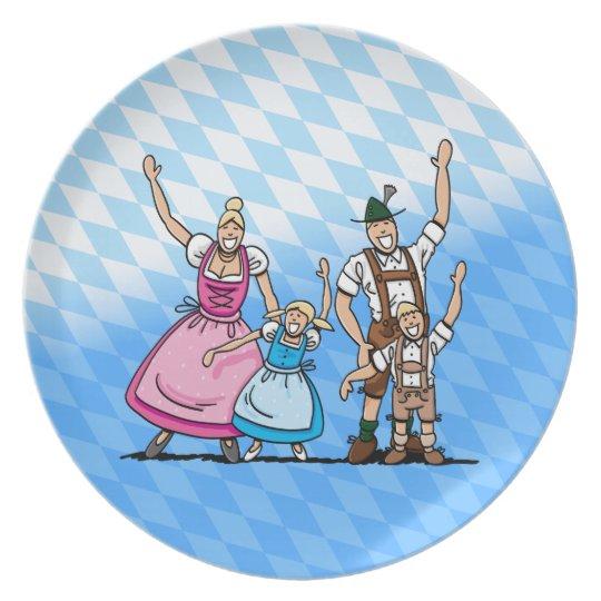 Plate Oktoberfest Lederhosen Dirndl Family Bavaria