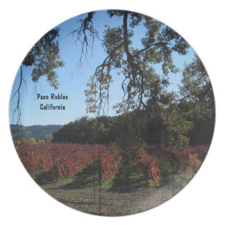Plate: Paso Robles Vineyard in November Colors Melamine Plate