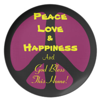 Plate: Peace Love & Happiness Dinner Plate