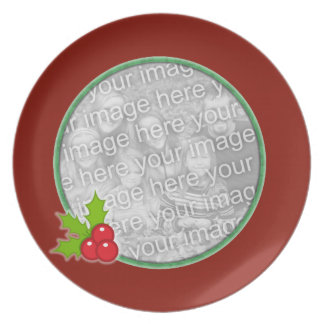 Plate Photo Template - Holly Berries