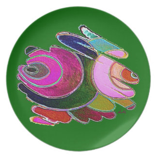 Plate Pink Frigg Beautiful Spirals on Green