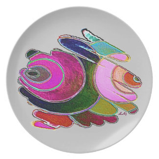 Plate Pink Frigg Beautiful Spirals on Silver