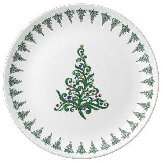Plate - Porcelain - Green Flourishing Holiday Tree