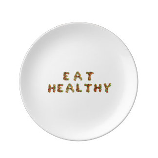Plate reminding you to eat healthily