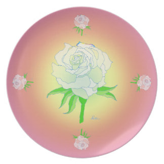 Plate - Rose and warm Rainbow Colors