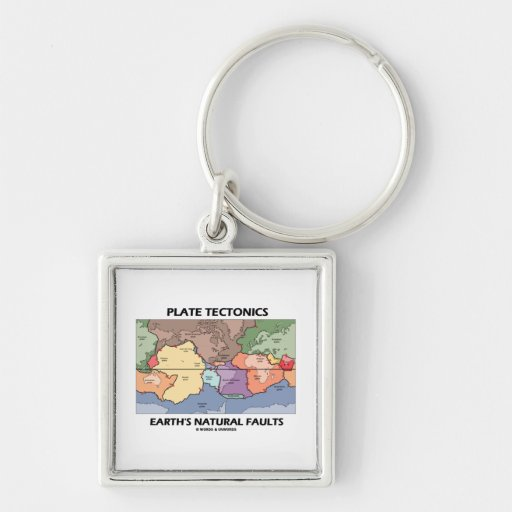 Plate Tectonics Earth's Natural Faults (World Map) Key Chains