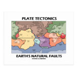Plate Tectonics Earth's Natural Faults (World Map) Post Cards