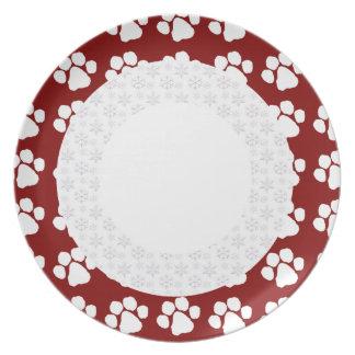 Plate Template - Christmas Paw Border