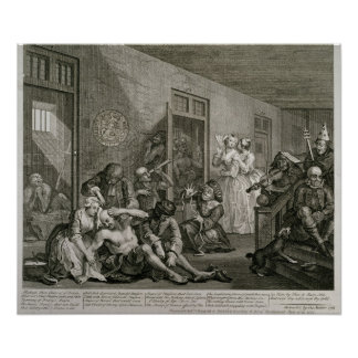 Plate VIII from A Rake's Progress, 1735 Poster