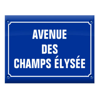 plate which occurred Champs Elysées - FRANCE