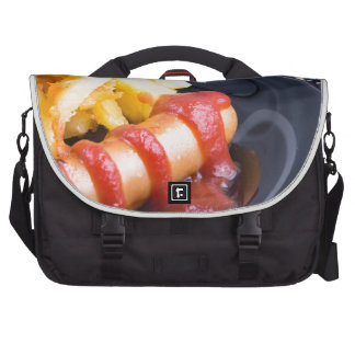 Plate with a portion of fried potatoes laptop bags
