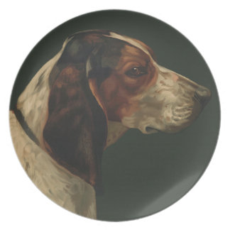 Plate with a reproduction of a vintage painting