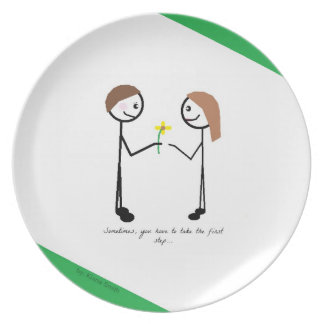 Plate with Cute Stick Figures