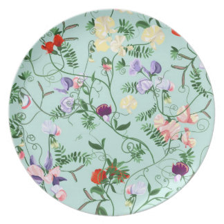 Plate with decorative sweet pea flowers