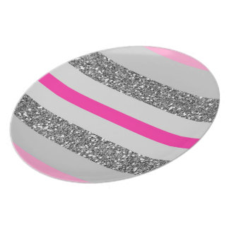 Plate with drawing of stripes rose and ash
