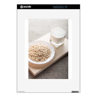 Plate with dry cereal and a glass of milk decal for the iPad