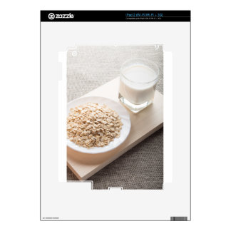 Plate with dry cereal and a glass of milk decal for the iPad 2