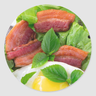 Plate with egg yolk, fried bacon and herbs classic round sticker