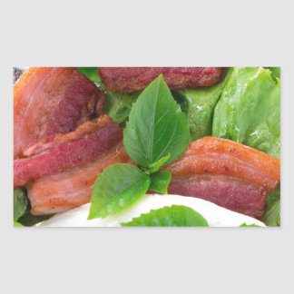 Plate with egg yolk, fried bacon and herbs rectangular sticker