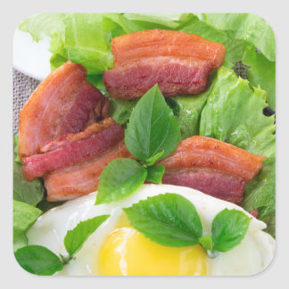 Plate with egg yolk, fried bacon and herbs square sticker