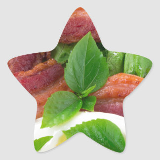Plate with egg yolk, fried bacon and herbs star sticker
