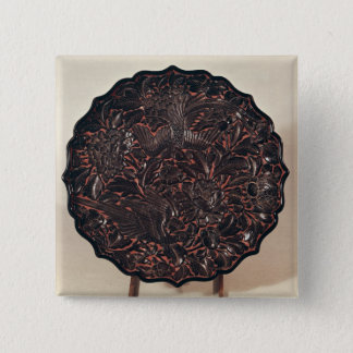 Plate with floral motifs and two birds pinback button