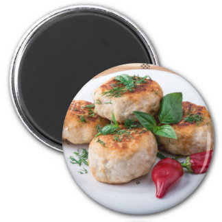 Plate with fried meatballs minced chicken magnet