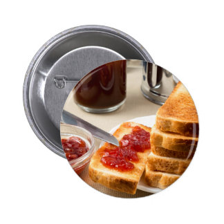 Plate with fried slices of bread for breakfast pinback button