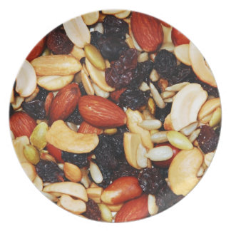 Plate with photo of trail mix