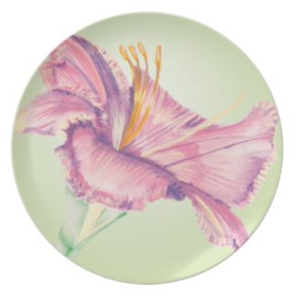 Plate with Pink Lily Easter Flower