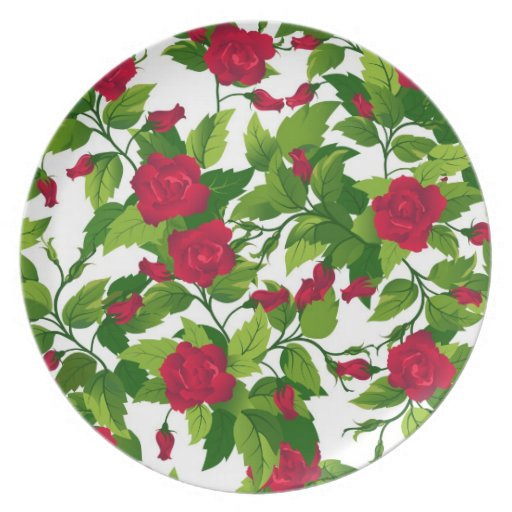 Plate with red roses  seamless
