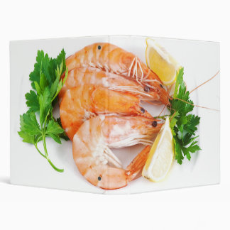 plate with shrimps closeup 3 ring binder