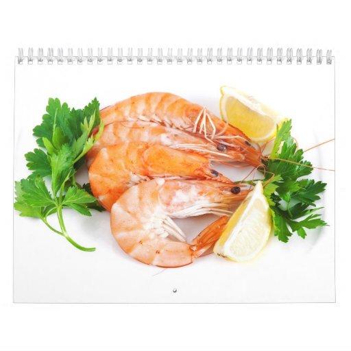 plate with shrimps closeup wall calendars