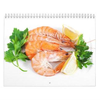 plate with shrimps closeup calendar
