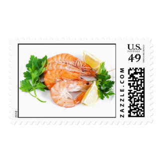 plate with shrimps closeup postage