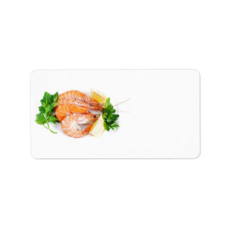 plate with shrimps label