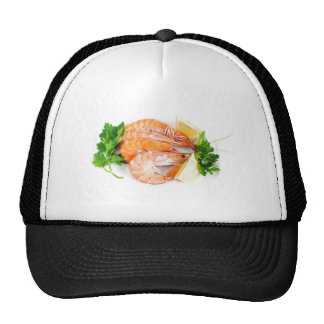 plate with shrimps trucker hat