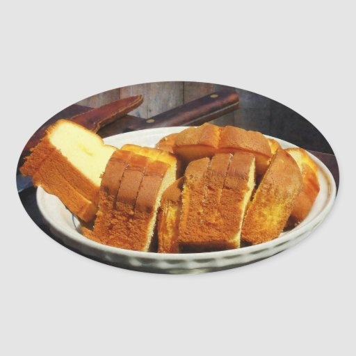Plate With Sliced Bread and Knives Oval Sticker