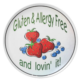 Plate with the Gluten and Allergy Free logo