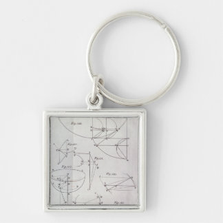 Plate XIX, Illustrating Proposition LXV Silver-Colored Square Keychain